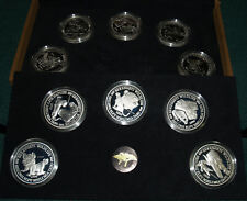1998 Tanzania 2500 Shilingia 10 Coin Proof Set-10 5 oz Silver Serengeti Wildlife