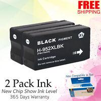 2 PK Black Ink for HP 952 XL OfficeJet Pro 7720 8210 8710 8720 8730 8740 Printer