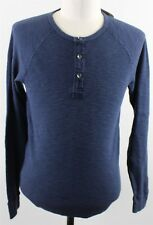 NWT Lucky Brand Lived-In Thermal Henley Shirt MENS SMALL Blue Cotton 7MD6475