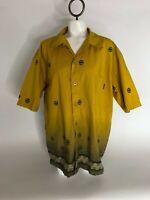 Prana Mens Size L Yellow Button Up Short Sleeve Dress Shirt