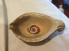 Mid Century Frankoma Pottery Candle Holder-Christ the Light of the World Oral Roberts Desert Gold-Tulsa 1971