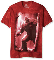 The Mountain Mens - Womens Forest Bigfoot Sasquatch T-Shirt Red Tie Dye Large-XL