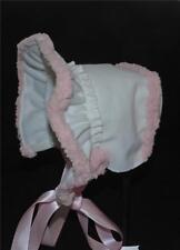 White Denim Fleece Lined Cold Weather Bonnet