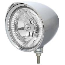 """Chrome 7"""" Billet Style """"CHOPPER"""" Headlight w Razor Visor - 34 White LED H4 Bulb"""