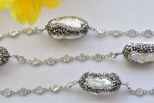 """Inlay Cz Chain Necklace Magnetic P7066 24"""" 27mm White Biwa Pearl"""
