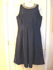 WOMEN'S PARTY DRESS SIZE 14 NAVY BLUE PEARLED NECKLINE AUDREY HEPBURN STYLE ~