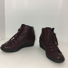 Spring Step Womens Ankle Bootie Burgundy Leather Size 37 Faux Snakeskin  Wedge
