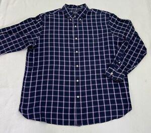 Chaps Easy Care Men's Twill  Button Down Purple Plaid Dress Shirt Size XXL/T EUC