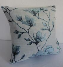 Pale Teal & Grey Jacquard Damask Magnolia Renaissance Floral Cushion Cover 45