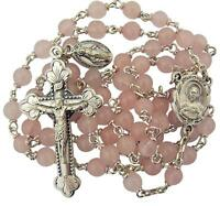 Creed Silver Toned Sacred Heart Centerpiece Rosary with Pink Prayer Beads