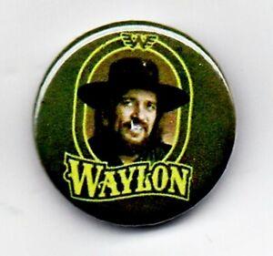 "Waylon Jennings 1"" Button Badge 25mm Rock n Roll Country Western Outlaw"