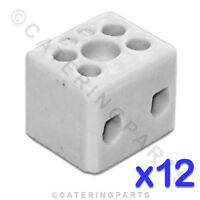 12x CERAMIC HIGH TEMPERATURE ELECTRICAL CONNECTOR BLOCKS 2 POLE 4mm 32A