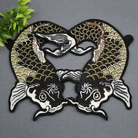 2Pcs Embroidery Carp Fish Patches Sew-on Patch for Cloth Bag Hat Applique Badge