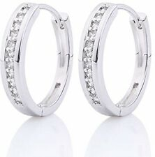 GULICX CZ Crystal Hoop Stud Earrings White Gold Plated Silver Tone Channel -