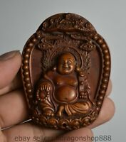 Bois ancien de 6,8 cm en bois sculpté Amulette du Bouddha Maitreya
