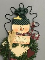 """Wooden Snowman Door Hanger 14"""" Christmas Holiday Winter Country Decor with Box"""