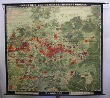 Schulwandkarte Deutsches Reich ~1937 Produktion PKW LKW Leder Milch usw. 224x207