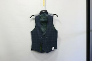 Remus blue checked double breasted slim fit waistcoat 40r  - £20