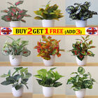 1x Artificial Potted Flowers Fake Leaves Plants In Pots Bonsai Garden Home Decor