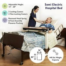New Semi Electric Hospital Bed With Mattress And Rails Fully Adjustable In Stock