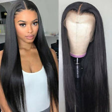 "24"" Black Glueless Lace Front Wigs Synthetic Hair Long Straight Heat Resistant"