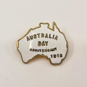 Antique Australia Day Shirt / Pin Badge c1918 w/ Enamel