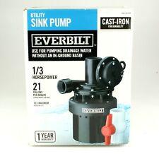 *Everbilt 1/3 Hp Utility Sink Pump Effluent Basement Bar Laundry Sinks Plumbing