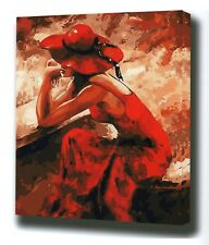 """LADY IN RED ABSTRACT PAINTING PAINT BY NUMBERS CANVAS KIT 20 x 16"""" FRAMELESS"""