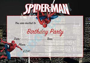 #6 SPIDERMAN Pack of 10 KIDS kids children birthday party INVITATIONS