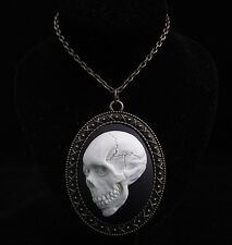 "24"" Vintage Style Evil Dead Skull Cameo Pendant Necklace"