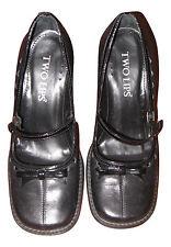 TWO LIPS Womens Size 6M Leather  Black High Heel Stylish MaryJane Shoes