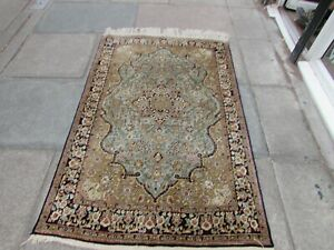 Fine Vintage Hand Made Traditional  Rugs Oriental Silk Blue Small Rug 165x107cm