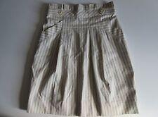 BCBG Max Azria 'Shana' in Cream & Blue Pinstripe Pleated Stretch Cotton Skirt 6