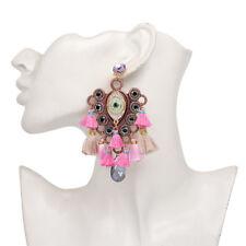 Women Retro Crystal Evil Eye Tassel Drop Dangle Alloy Ear Stud Earrings Jewelry