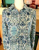 Joe Fresh Women's Blue/White Print Long Sleeve Button Front Blouse Sz M