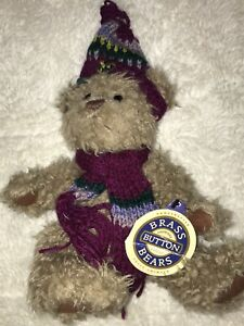 "Vintage, 1996 12"" Jointed Brass Button Bear, DOOLEY, Winter Wear, with Tags"