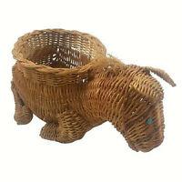 Donkey Horse Mule Figural Wicker Basket Plant Holder Vintage Collectible Decor