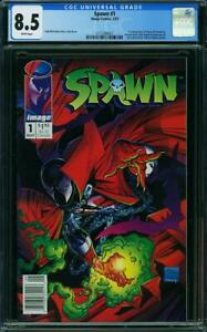 SPAWN 1 CGC 8.5 WHITE PAGES 1ST SPAWN MCFARLAND STORY COVER AND ART NEWSTAND A6