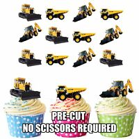 JCB Truck Digger Themed PRECUT Edible Cupcake Toppers Cake Decorations 12 Pack