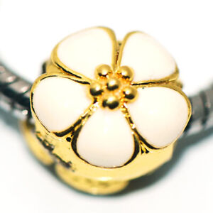 1x  White Flower Bead Charms Spacer Fit Eupropean Chain Bracelet Making Jewelry