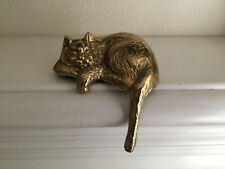 Solid Brass Shelf Cat 5� X 2 1/2� Tail 3� Preowned