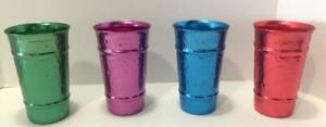 COLORFUL 4 HAMMERED ALUMINUM TUMBLERS DRINKING GLASSES VTG METAL CUPS 12 OZ