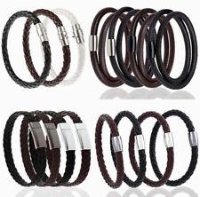 Men Women Fashion Punk Artificial Leather Bracelet Rope Wrist Band Bangle Black