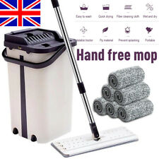 Flat Squeeze Microfiber Mop And Bucket Floor Cleaning Hand Free Wringing 6 Pads