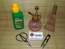 Bonsai liquid feed,fertiliser 250ml Mister + Scissors,+ Shears + Coir Brush Set