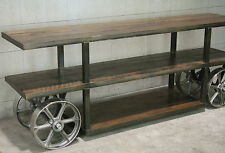 Industrial Trolley Cart. Rustic TV Stand. Reclaimed Wood Media Console. Modern