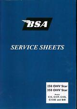 BSA C15 B40 C15T C15SS C Swinging Arm Service Sheets Set  Manual 1958-1966