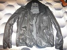 Muubaa Men's Black Leather Biker Jacket Fur Collar Size M