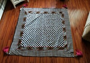 """Mackenzie Childs Chesterfield Table Topper Courtly Check/Stripe/leopard  54"""" Sq."""