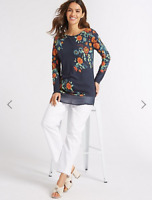 M&S Ladies Womens Per Una Long Sleeve Embellished Floral Print Blue Top   (046)